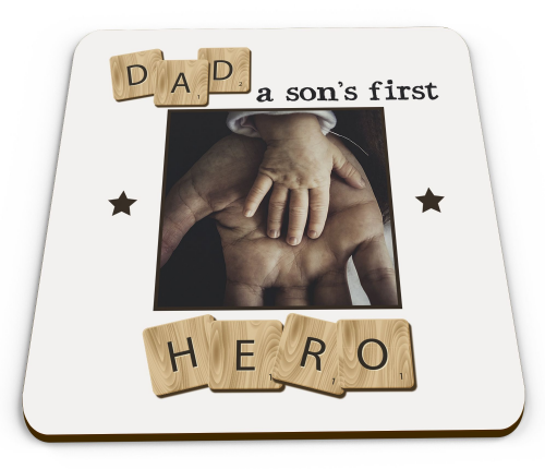 Personalised Dad, A Son's First Hero Glossy Mug Coaster